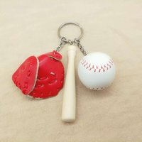 Eldiven Softball Anahtarlıklar Top Yüzük Beyzbol Ahşap Yarasa Kolye Charm Anahtarlık Çanta Kolye Hediye GGA1788