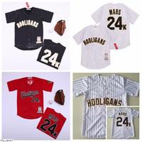 Männer Moive Hooligans 24k Bruno Mars Baseball-Trikots Navy Blau Weiß Rot Team Farbe Coole Base Pinstripe Stickerei und Nähqualität als