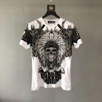 PP torba ambalajı! Erkek Lüks Tasarımcı Gömlek Yaz Yeni Moda Pamuk Tees Rahat Rhinestone Kafatası erkek T-Shirt WT4I