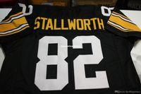 Cheap retro # 82 John Stallworth Özel üst S-5XL, 6XL Mitchell Ness Jersey Siyah Dikiş Erkekler Futbol Formaları Koşma