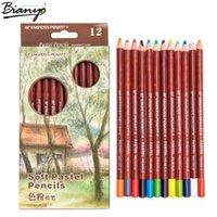12 цветных мягких пастельных карандашей.