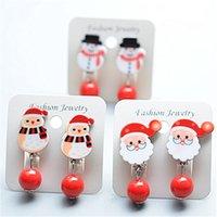 귀여운 만화 클립 플리크스 귀걸이 크리스마스 트리 산타 엘크 눈사람 귀걸이 소녀 재생 귀걸이 파티에 대 한 귀걸이