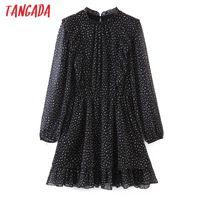 Tangada Women Ruffles Black Dot Print Chiffon Dress Long Sleeve Back Buttons Females Mini Dresses Vestidos SL148