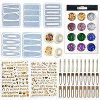 Fai da te Forcina Casting Mold Set kit include 30 parti dei capelli della clip 5 Silicone Resin Stampi gioielli Stampi in resina epossidica tornante Stampi HWA3487