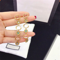 Marke Brief Blume Ohrringe Asymmetrische Ohrringe Charme Studs Frauen Doppel Alphabet Schmuck Sets Geschenk für Party-Jubiläum
