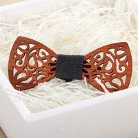 빈티지 나비 넥타이 레드 로즈 우드 설명서 신사 웨딩 목재 bowtie 창의력 액세서리 9 스타일을위한 Bowknot