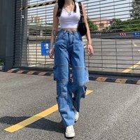 Jeans da donna donna BAGGY Vintage Vintage Vita alta Gamba larga Gamba Denim Abbigliamento Blu Streetwear Quality Fashion Adajuku Pantaloni dritti