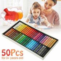 Arte de pintura Suprimentos Crayons 50 Cores Pastels de Óleo Macio para Desenho Conjunto de Crianças Cera Crianças Presente Pintura A óleo Papelaria Y200428