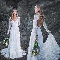 Полное кружевное Boho свадебные платья сексуальные открытые свадебные платья с свадьбой с длинными рукавами V шеи страны