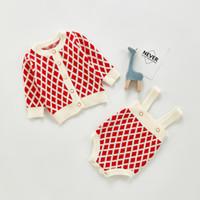 Bebek Kız Ekose Örme Kazak Kıyafetler Çocuk Kafes Uzun Kollu Hırka + Romper 2 adet Setleri Yenidoğan Bebek Çocuk Giysileri A5379