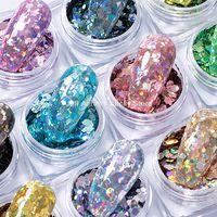 12 Renkler Altıgen Holografik Glitter Jel Oje Sequins Nail Art Süslemeleri Çıkartmaları Sahte Çivi Aksesuarları Malzemeleri Aracı