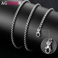 Ketten AGLOVER 925 Sterling Silber 5mm 18/20/24 Zoll Runde Box Kette Halskette Für Frau Mann Mode Hochzeit Engagement Schmuck Geschenk