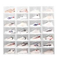 طوي من البلاستيك مربع الأحذية سمكا الغبار فليب تكويم الأحذية شفاف درج فرز أحذية مجلس الوزراء الأحذية المنظم VT1865