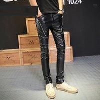 Pantaloni da uomo 2021 Fashion PU Faux Leather Mens Moto Zipper Punk Uomo Slim Fit Pantaloni Casual Nightclub Skinny Matita Pants1