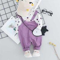 WENWENDEXINGFU Осенняя детская девочка наборы одежды малышей младенческая одежда для одежды в горошек Детская футболка нагрудник брюки детские дети костюм1