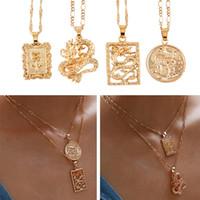 Böhmen Porträtlegierung Goldmünze Anhänger Halsketten für Frauen Vintage Rose Mode Lange Halskette Schmuck Geschenke