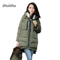 Damen Down Parkas Zhuishu Warme mit Kapuze Outwear Große Größe Winter Baumwolle Mantel Reißverschluss Große Taschenjacke Frau verdicken