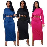 Fashion Street Style Women Sets O-Neck Long Sleeve Casual Drawstring Tops High Waist Bodycon Side Split Ankle Length Skirts Set