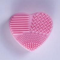 Maquiagem Escova Forma Coração Silicone Limpador Escova Cosmética Escova EscobraGg Pad Lavagem Ferramenta de Limpeza 5 Cores Opcional PPE4616