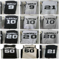 Rétro Vintage San Antonio David 50 Robinson Tony 9 Parker Manu 20 Ginobili Basketball Jerseys Noir Blanc Gris Spurs Demar 10 Derozan Jersey