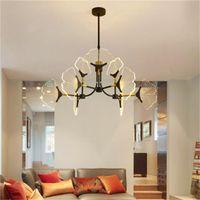 Nordic Lámpara de acrílico llevado en forma Comedor personalidad creativa de la lámpara de la lámpara moderna sala de estar luces colgantes de oficina minimalista