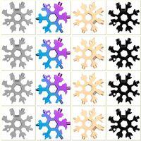 Snowflake multi utensile 18 in 1 fiocco di neve multitool chiave multitaol apri bottiglie portachiavi anello tasto bici fix tool fiocco di neve regalo di natale per uomo