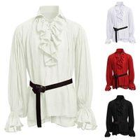 Camisa masculina blusa hombres gótico steampunk boda fiesta club ropa medieval manga larga soporte collar jabot decorado camisa hombres