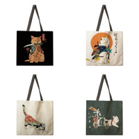Женское плечо японское животное outioyo-e льняное ткань повседневная сумка складной торговый пляж модный