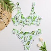 Dinosaurios Sexy Imprimir 2020 Trajes de baño Mujeres Verano Lace Push Up Radded Brasileño Bikini Thong Biquini Beachwear Traje de baño Q1127
