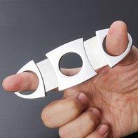 Taşınabilir Paslanmaz Bıçak Çelik Küçük Puro Kesici Çift Bıçakları Puro Makas Metal Kesim Puro Cihazları Araçları Sigara Aksesuarları