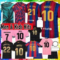 10 Messi Barcelona Maillots de Camisa de Futebol 2021 Jersey de futebol 8 A. Iniesta Griezmann F. de Jong Suarez Dembele Coutinho Malc Men Kids Kit