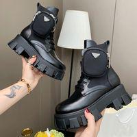 새로운 ROIS 가죽 및 모노리스 Re-Nylon Boot Ankle Martin Boots 군사 영감을받은 전투 부츠 나일론 주머니가 끈으로 발목에 붙어 있습니다.