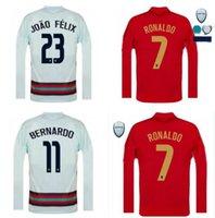 Manica lunga 2020 Team National Team Soccer Jerseys Ronaldo Joao Felix Casa Away Youts Camicia da calcio 20 21 Camicie da calcio in portoghese Camisa de