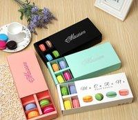 Renkli Macaron Kutusu 12 Kavite Tutar 20 * 11 * 5 cm Gıda Ambalaj Hediyeler Kağıt Parti Kutuları Için Fırın Kek Aperatif Şeker Bisküvi Kutusu