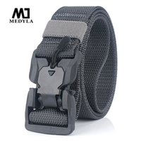 MEDYLA New Men's Military Tactical Belt Hard ABS Magnetic Quick Release Buckle Men's Army Belt Soft Genuine Nylon Casual Belt 201117