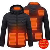 Открытый футболки 8 района с подогревом жилет USB нагрев зима теплый электрически вниз куртка толстовки для рыбалки охота на жилет