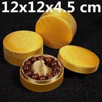 Palíndromo de algodão de luxo enchido caixa de presente redonda homens pulseira jóias caixa de armazenamento de seda chinês brocado jóias embalagens1