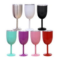 10oz vidros de vinho de aço inoxidável parede dupla vácuo isolado xícaras com tampas bilê bilayer copo de ovo 9 cores