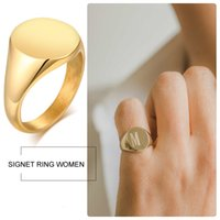 Personalized Rvs Seal in Gold Color Engraving Initial Letter Pinky Women's Ring