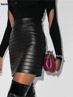 Gonne di colore puro, vita alta, artigianato pesante, drappo, attacco stretto, pelle PU avvolta per la moda, gonna, moda autunnale da donna