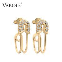 Varole Curved Safety Pendientes Pendientes Brillantes Cristal Colgelar Earings Gold Color Pendientes para Mujer Joyería Oorbellen Brincos