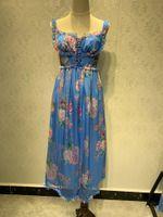 2020 صيف نمط جديد بذلة النساء أوروبا والولايات المتحدة الأزياء ماركة الحرير المخلوطة الزهور الرباط حزام عالية الخصر قطعة واحدة واسعة