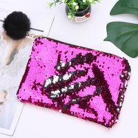 21CMX16CM Реверсивные блестки Mermaid Glitter составляют чешуйку мода сумка популярной леди косметическая сумка вечерняя сумка сцепления CCD3273