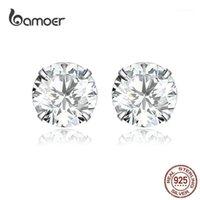 Stud Bamoer Basic Wedding Brincos Solid Silver 925 Clear Cubic Zirconia 7mm Mulheres Declaração Jóias BS1661