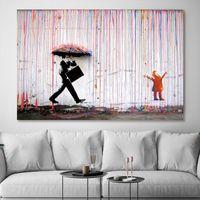 Gemälde Banksy Gehen in der Regenstraße Graffiti Wandkunst Leinwand auf Poster und Drucke für Wohnzimmerdekor