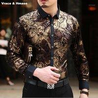 Европейский стиль персонализированные тиснение печать роскошный с длинным рукавом рубашка высококачественная золотая бархатная мягкая высокая качественная рубашка мужская M-XXXL1