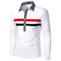 Polos de hombres Hombres Camisa de manga larga Cofre Doble Color Raya Moda Top
