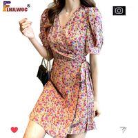 Bonito doce chique lace-up vestidos 2020 mulheres verão pastoral vintage floral férias data vestido flhjlwoc vestido beach1