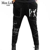 Max Lulu Nouveau designeurs européens Dames Punk Hiver Harem Pantalons Harem Femme Casual Broderie Chaud Jeans imprimés Pantalon Denim