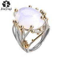 خمر فضي اللون الطبيعي سليكات الألمنيوم خاتم العقيق الأبيض الكرمة خواتم للمجوهرات الزفاف المرأة